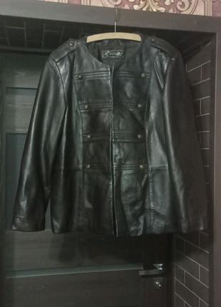Женская кожаная куртка большого размера