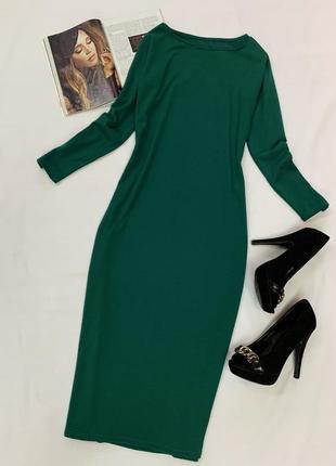Трикотажное платье насыщенного зеленого цвета