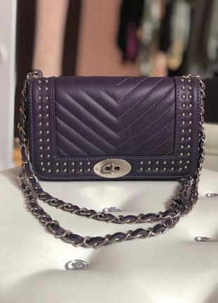 Фиолетовая кожаная сумка (италия, натур.кожа)