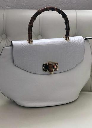 Белая кожаная сумка италия