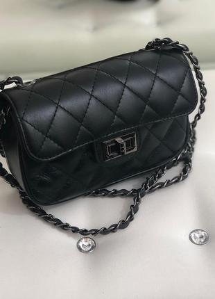 Кожаная сумка в стиле chanel