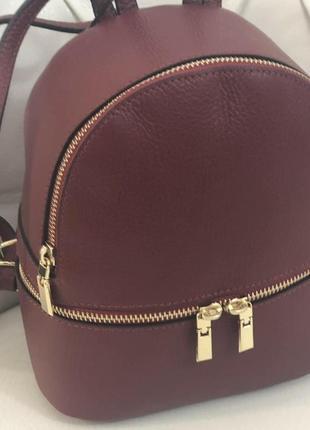 Бордовый кожаный рюкзак италия