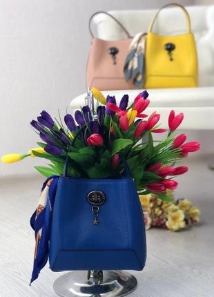 Женская кожаная сумка с платком италия