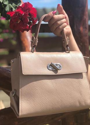Пудровая кожаная сумка италия