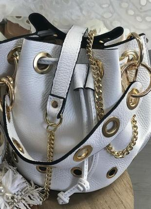 Кожаная сумка мешок италия