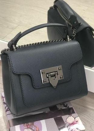 Темно синяя кожаная сумка