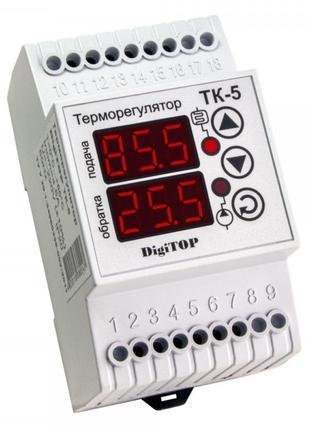 Терморегулятор ТК-5, 0…+90°С 6А с датчиками, DigiTOP