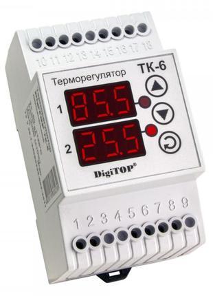 Терморегулятор ТК-6, -50…+125°С 16А с датчиками, DigiTOP