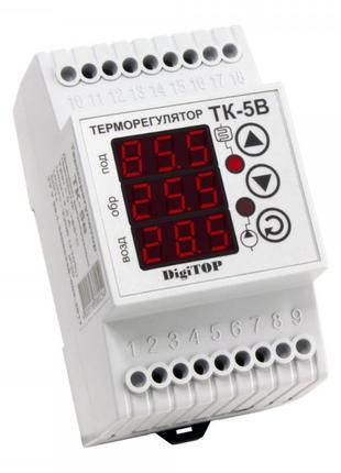 Терморегулятор ТК-5В, 0…+90°С 6А с датчиками, DigiTOP
