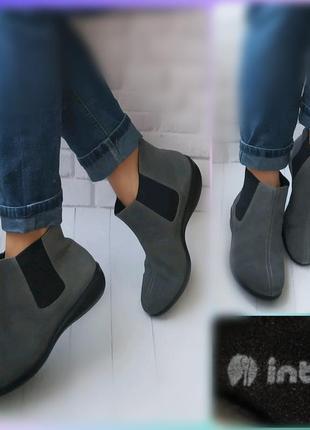 41р замша!новые италия inblu,ботинки теплые,бежевые,серые