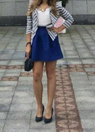 Xs-s  мини юбка синяя,электрик,классичесая