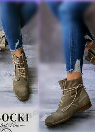 38-39р замша! новые lasocki ботинки,милитари