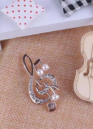 Скрипичный ключ брошь. подарок для музыканта, меломан, учителя...
