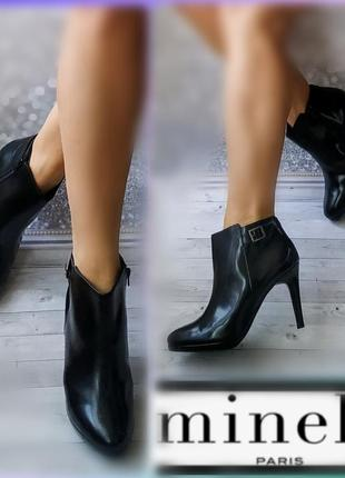 40р кожа !новые minelli ,черные лаковые ботинки,ботильоны