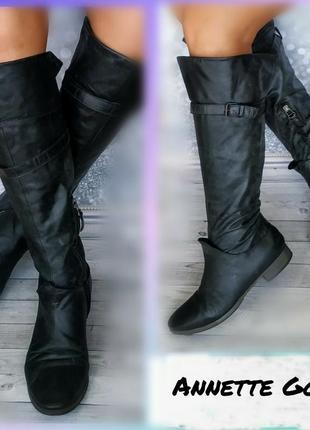 39р кожа германия аnnette  gortz высокие сапоги ботфорты кожаные