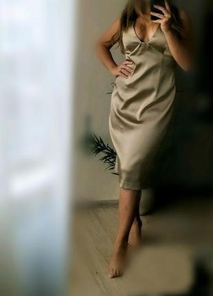 S-m  бежевое вечернее миди  платье в бельевом стиле laundry