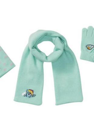 Набор шапка шарф перчатки  my little pony от disney принт раду...