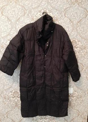 Куртка пуховик пальто оверсайз большой размер двухсторонний