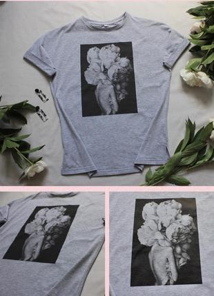 Женская хлопковая футболка с цветочным принтом