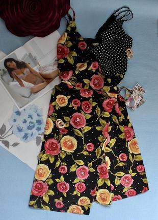 Шикарное чёрное платье/ сарафан на запах миди в горошек и цвет...