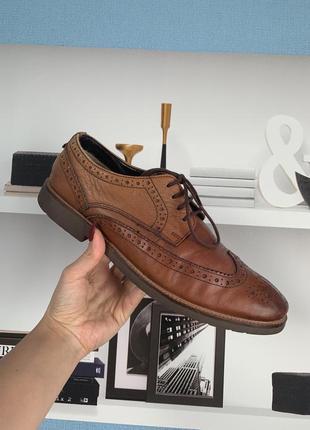 Кожаные коричневые  мужские туфли броги clark's