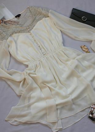 Милое платье кремового цвета размер хс