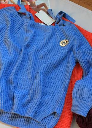 Нарядный голубой свитерок размер хс / с
