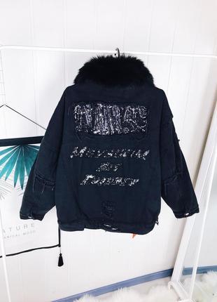 Женская джинсовая куртка с натуральным мехом