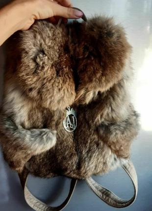 Рюкзак с натуральным мехом кролика