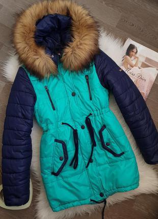 Теплая куртка/пуховик/парка с мехом синяя/бирюза