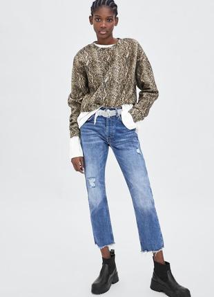 Толстовка zara soft-touch укороченный свитер с длинными рукава...
