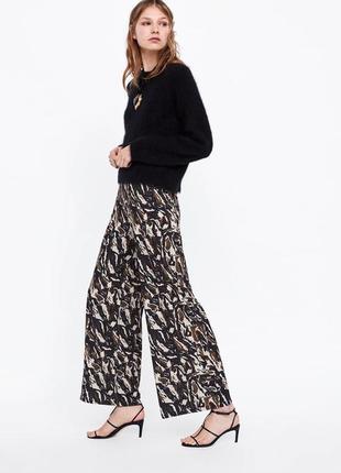 Женские брюки палаццо брюки с принтом от zara широкие брюки ра...