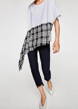Zara белая асимметричная клетчатая блузка футболка