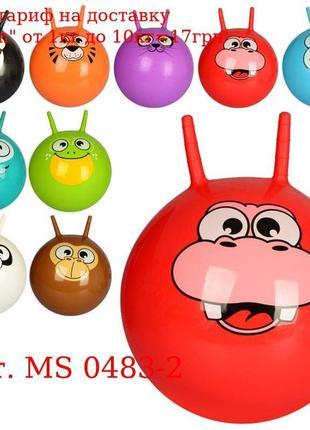 Мяч для фитнеса MS 0483-2 с рожками, 45см, 10видов, 450г, в ша...