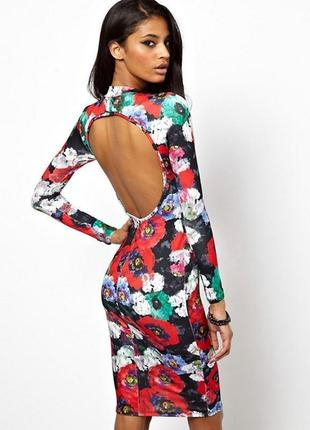 Шикарное платье миди цветочный принт