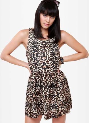 Шикарное платье с принтом леопард