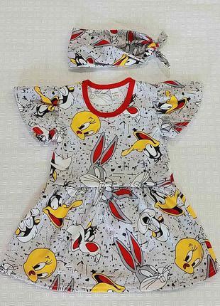 Детское платье для девочки и повязка солоха, летнее платье, ак...