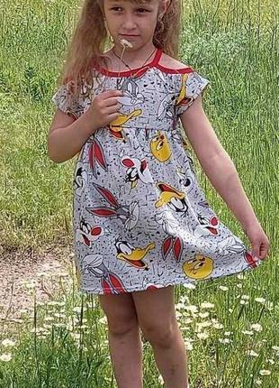 Детское платье с открытыми плечами на каждый день