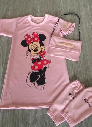 Тройка  minnie mouse (платье, гетры и сумка)