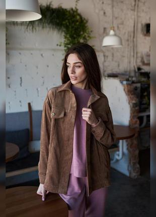 Стильная коричневая вельветовая женская куртка оверсайз, oversize