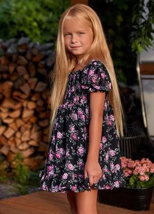 Детское красивое шифоновое платье , темно - синее с цветочным ...