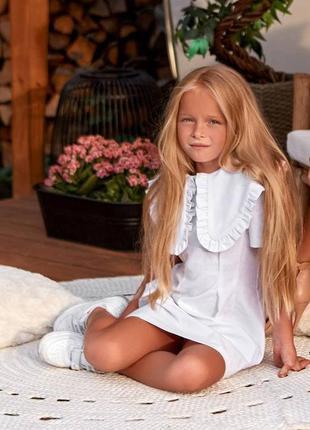 Стильное детское льняное синее короткое платье, мини, family l...