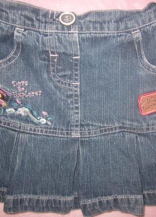 Красивая юбка джинс с вышивкой дора