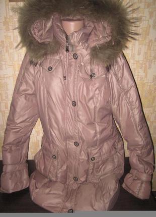 Курточка пуховик с натуральным мехом