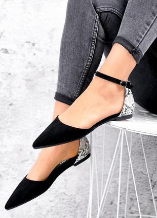 Туфли чёрные питон эко замша кожа