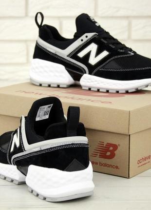 New balance 574 sport v2 black мужские кроссовки чёрные с белым