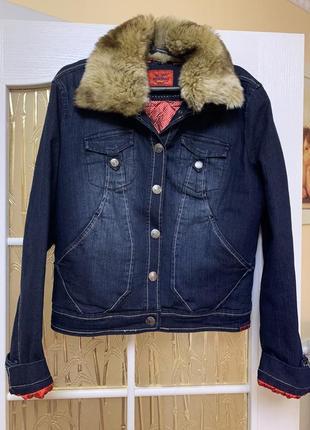 Крутая утеплённая джинсовая куртка пиджак с мехом montana