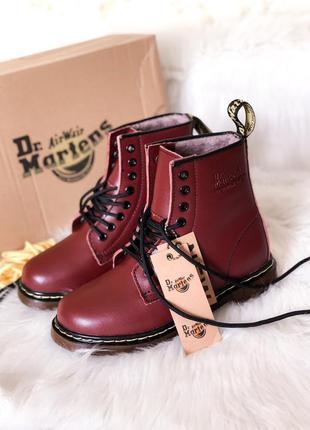 Женские зимние ботинки, кожаные мартинс с мехом dr. martines c...