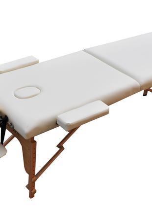 Массажный стол деревянный ZENET. Кремовый, размер L ( 195*70*61)
