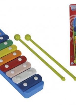 Музыкальный инструмент детский ксилофон Веселые ноты, 28 см, S...